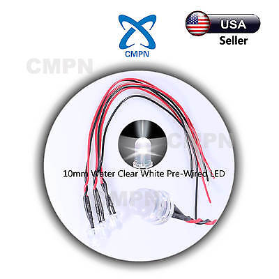 10Pcs Pre-Wired 10mm Water Clear White Light Lamp 9-12v LED Diodes 20CM Lines