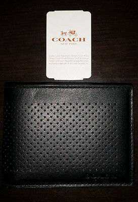 NWT Coach Slim Bill ID Perforated Leather Wallet BLACK F75227