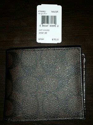 NWT Coach Men's Wallet Signature Canvas Mahogany / Brown F74993