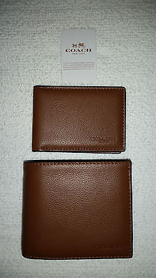 NWT Coach Men's Compact ID Sport Calf Dark Saddle Leather Wallet F74991