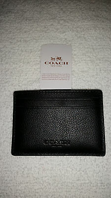 Nwt Coach Men's Leather Money Clip Slim Card Case F75459 Black