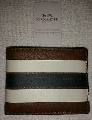 NWT Men's COACH SLIM BILLFOLD WALLET IN VARSITY LEATHER F75386