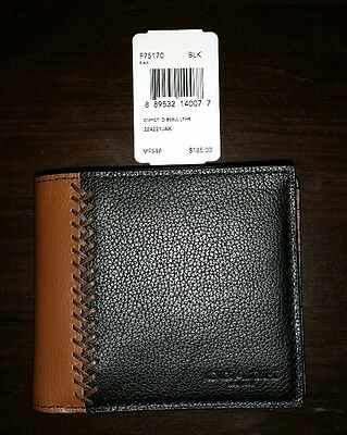 NWT Auth Men's Coach F75170 Compact Id Wallet Black & Saddle Leather