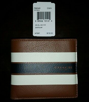 NWT Coach Men's Double Billfold Wallet Saddle Stripe Varsity Leather F58349