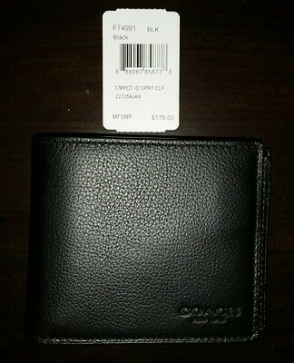 NWT Coach Men's Sport Leather Compact ID Sport F74991 Black