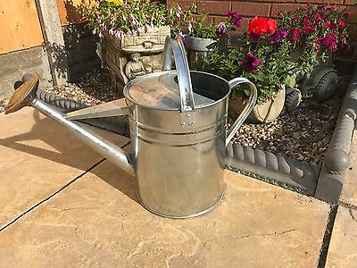 GENUINE PARASENE Galvanised metal WATERING CAN 2 GALLON COMPLETE WITH BRASS ROSE