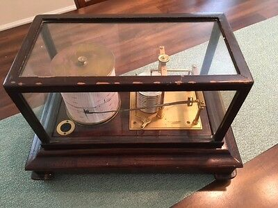 Antique Short & Mason Of London Stormograph Recording Barometer With Manual!