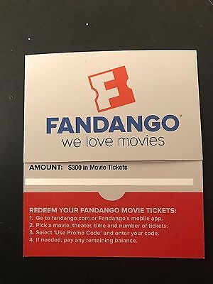 Fandango $300 value Gift Certificate