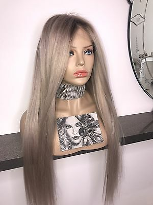 Ladylux Custom Coloured Ash Platinum Blonde Long Full Lace Remy Human Hair Wig