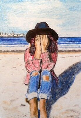 Original ACEO Painting Girl on the Beach Hiding her Face  by LGarcia