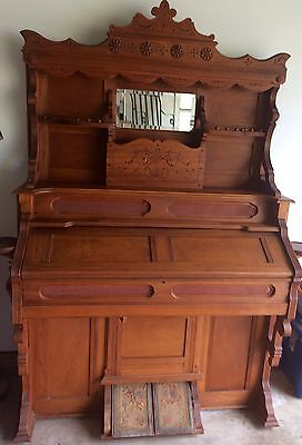 Victorian Pump Organ by Hinners & Albertsen w/ Ball and Claw Maple Stool Bench