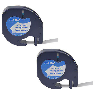 2 PK Black on White Plastic Label Tape Fit for DYMO Letra Tag LT 91331 QX50 12mm