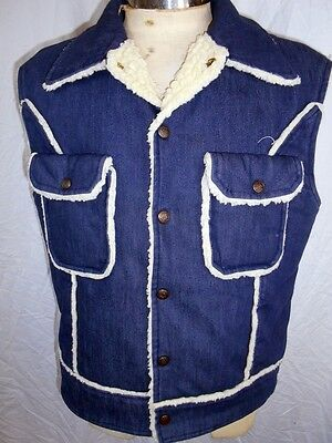 Vintage Dark Blue Denim Fleece Lined Sleeveless Jacket Vest Stud Buttons 39-40