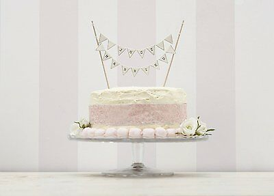 Vintage Lace Just Married Ivory Wedding Cake Bunting Topper Decoration Bunting