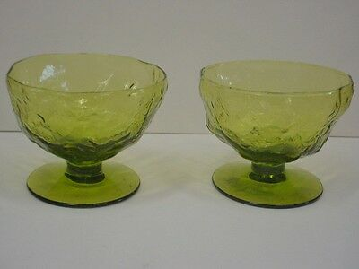 2 Driftwood Morgantown Seneca Glass  Green Sherbets