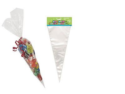 Clear Cellophane Cone Bags Large 16 x 38 cm - Kids Party Plastic Cello Sweet Bag