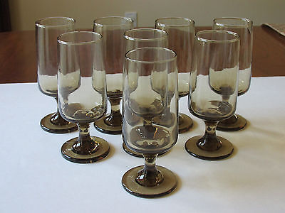 "(8) Vintage Libbey Tawny Accent Smoke Brown Whiskey Sour Glass Goblets 5.5"" Excl"