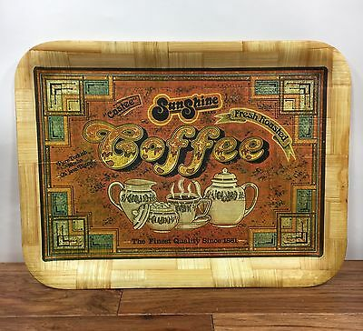 """Vtg Sunshine Coffee Lacquered Wood Serving Tray 16"""" X 12"""" Advertising"""