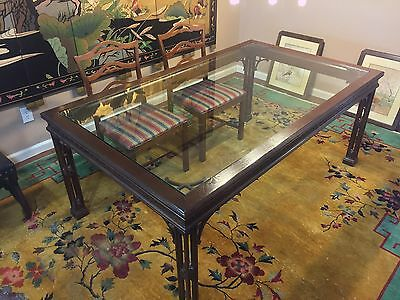 "Chinese Chippendale Style Dining Table 73.5"" x 43.5"" with Glass Top"
