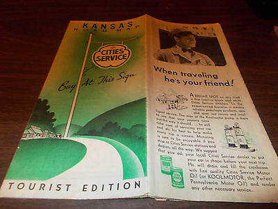 1936 Cities Service Kansas Vintage Road Map