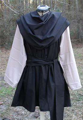 Renaissance Medeival Viking Tunic -  LOTR LARP SCA sm/md Black with Grey