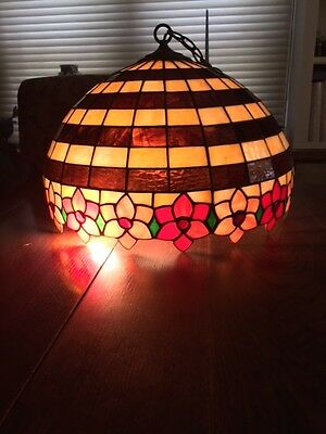 "Vintage Leaded Stained Glass Hanging Light Fixture~Slag~20 Diameter 15"" Tall"