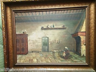 Antique Masterpiece Oil painting by  EUGENE LAURENT VAIL, 1884 to 1887 VERY RARE