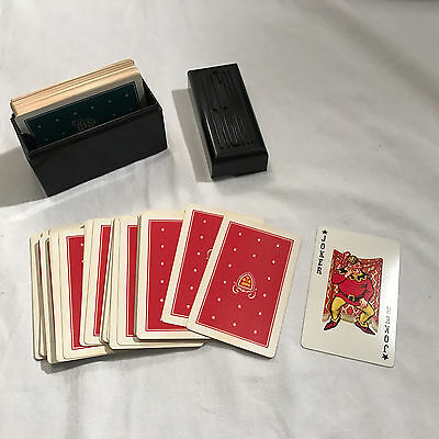 Vintage KEM Plastic Playing Cards in Plastic Box Double Deck Crown Green Red USA