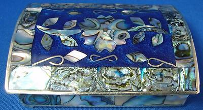 Vintage Mexican Alpaca Mother Of Pearl Trinket Pill Box