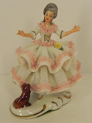 Small DRESDEN Lace Porcelain Lady with Dog Figurine Excellent Condition