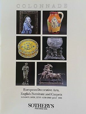SOTHEBY'S Auction Catalog 7/20/1993 European Deco Arts, English Furn & Carpets