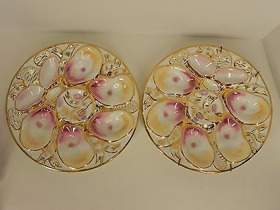 PAIR OF ANTIQUE 1880's GERMAN PORCELAIN OYSTER PLATES MARKED CT, C TIELSCH