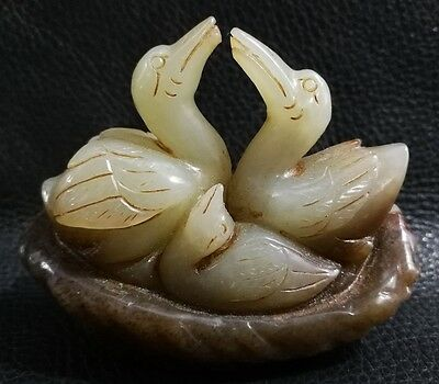 Chinese Exquisite Hand-Carved Swan carving Nephrite Hetian Jade Statue Pendant