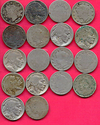 Lot of 18 Vintage Shield, Buffalo and V Nickels