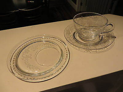 Early Wheel etched HAWKES Crystal Cup Saucer & Snack Party Plate Set Floral NR H