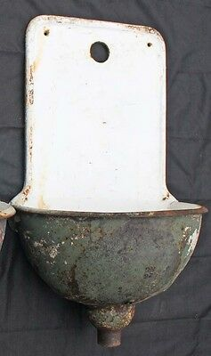 Antique French Lavabo sink Enamel over Cast iron Wall Mount,Garden Planter