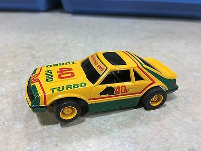 """TYCO HP7 HO SLOT  """" MUSTANG SVO """" Yellow/Green Turbo #40  EXCELLENT CONDITION"""