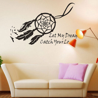 Wall Sticker Dream Catcher Feather Black Decal Art Home Decor Mural DIY Decor