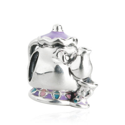 Authentic sterling-silver charm bead Disney Mrs. Potts & Chip Mixed Enamel CZ