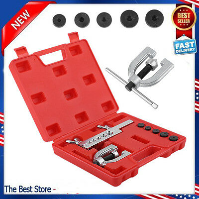 Double Flaring Brake Line Tool Kit Tubing Car Truck W/ Adapters Automotive Tools