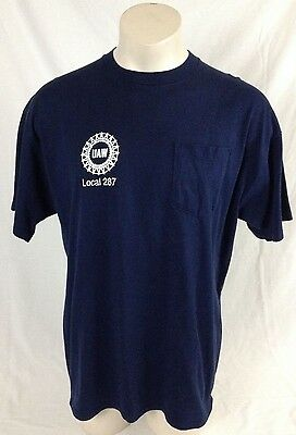 United Auto Workers Union T-Shirt Local 287 Navy Blue Made in USA Men's XL