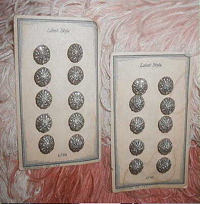 20 Antique 1918 CZECH Silver Filigree Metal Ball Buttons on Orig Cards 2 x 10