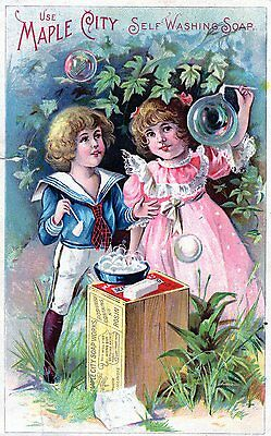 Antique Trade Card Maple City Soap Works Monmouth Il 190? Victorian Children