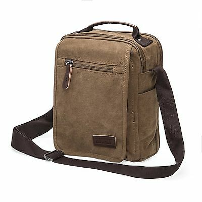 Men's Messenger Bag Vintage Canvas Leather Satchel School Shoulder Bag Coffe NEW