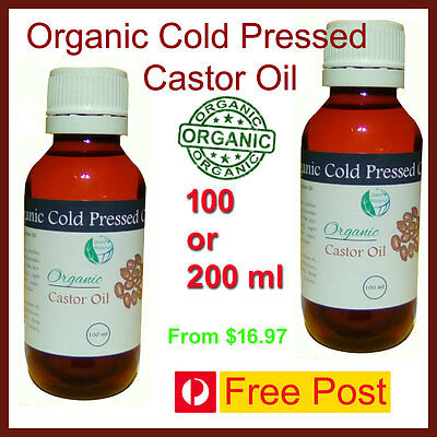 ORGANIC CASTOR OIL - 100% Pure Cold Pressed - Hexane Free - Premium - Unrefined