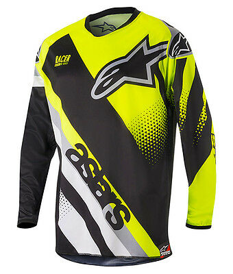 NEW 2018 Alpinestars Racer Supermatic Adults MX Motocross Jersey Black/Yellow