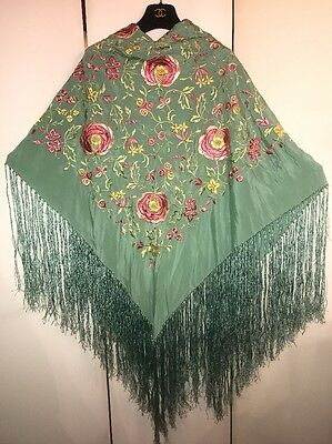 Antique Embroidered Aqua-Green Silk Floral Piano Shawl w Hand Knotted Fringes