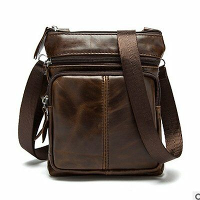 Men's Business Shoulder Messenger Bag Genuine Leather Crossbody Satchel Coffee