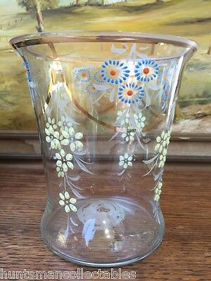 Beautiful Original Antique English Victorian Glass Hand Decorated Vase