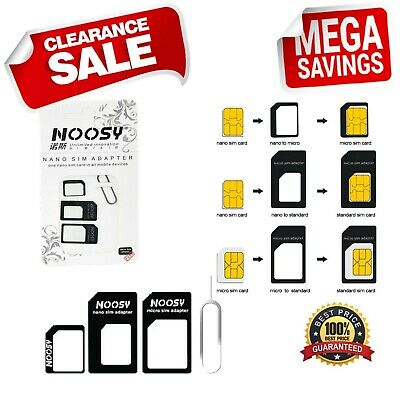 4 In 1 Pack Nano To Micro & Standard SIM Card Adapter For Samsung HTC LG iPhone